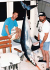 This 350 lb Mako Shark was caught on a fishing trip aboard Old Hat